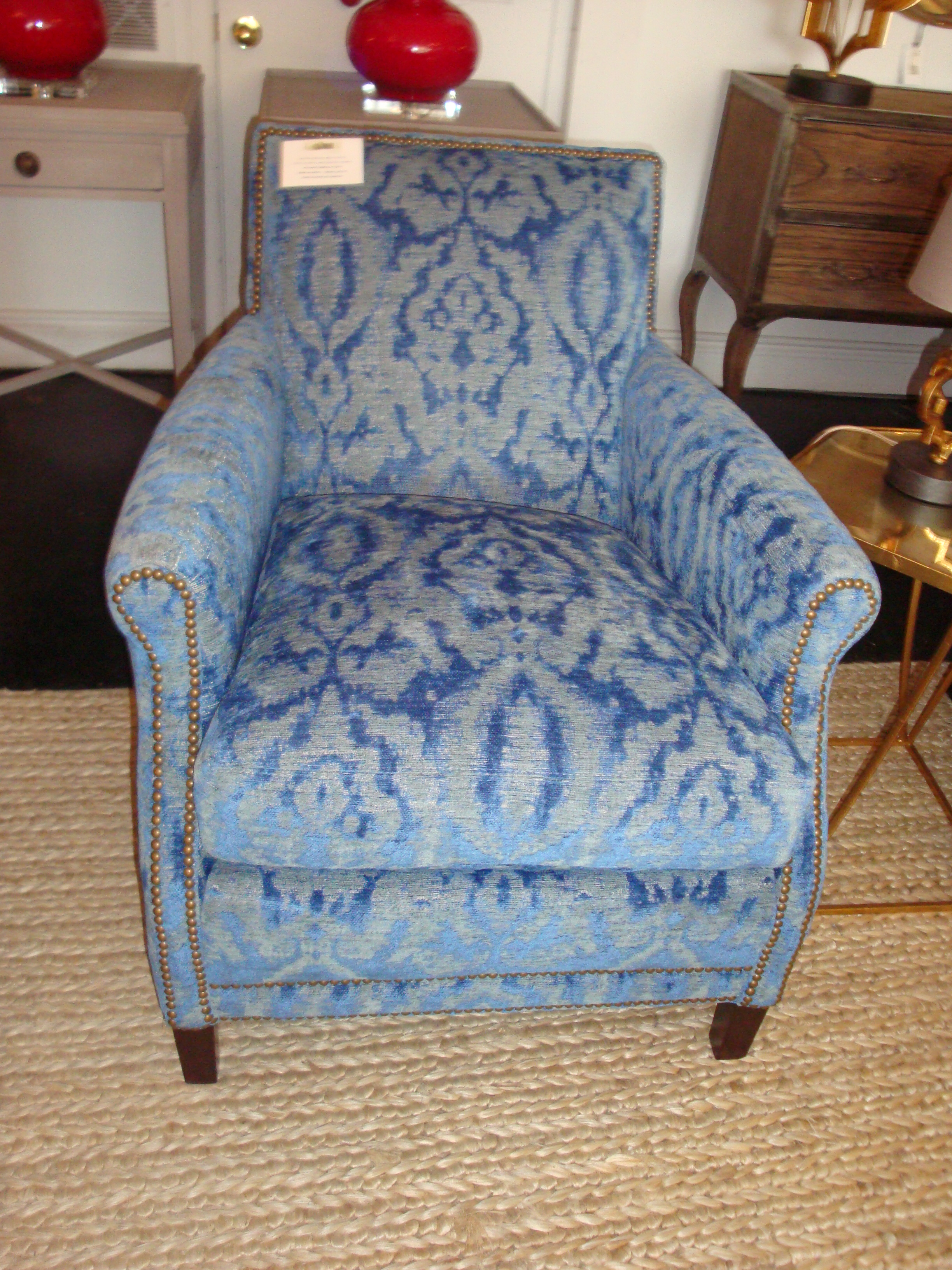 Lee chair upholstered  in Verona Lapis