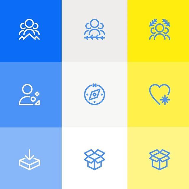Work in progress. Still testing. . . . #graphicdesign #design #iconography #icons #iconset #pixelperfect #illustration #ui #userinterface #geometric #shapes #blue #yellow #gray #shades #team #personal #discover #favorites #box #stample #origo #origodesignstudio