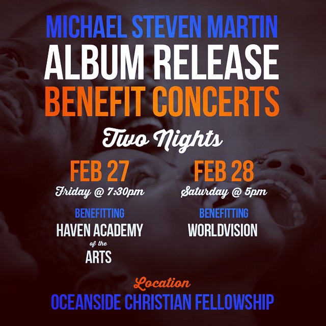 Beautiful evenings of new music and generous worship. To reserve seats to free admission concert weekend, either nite: michaelstevenmartin.com