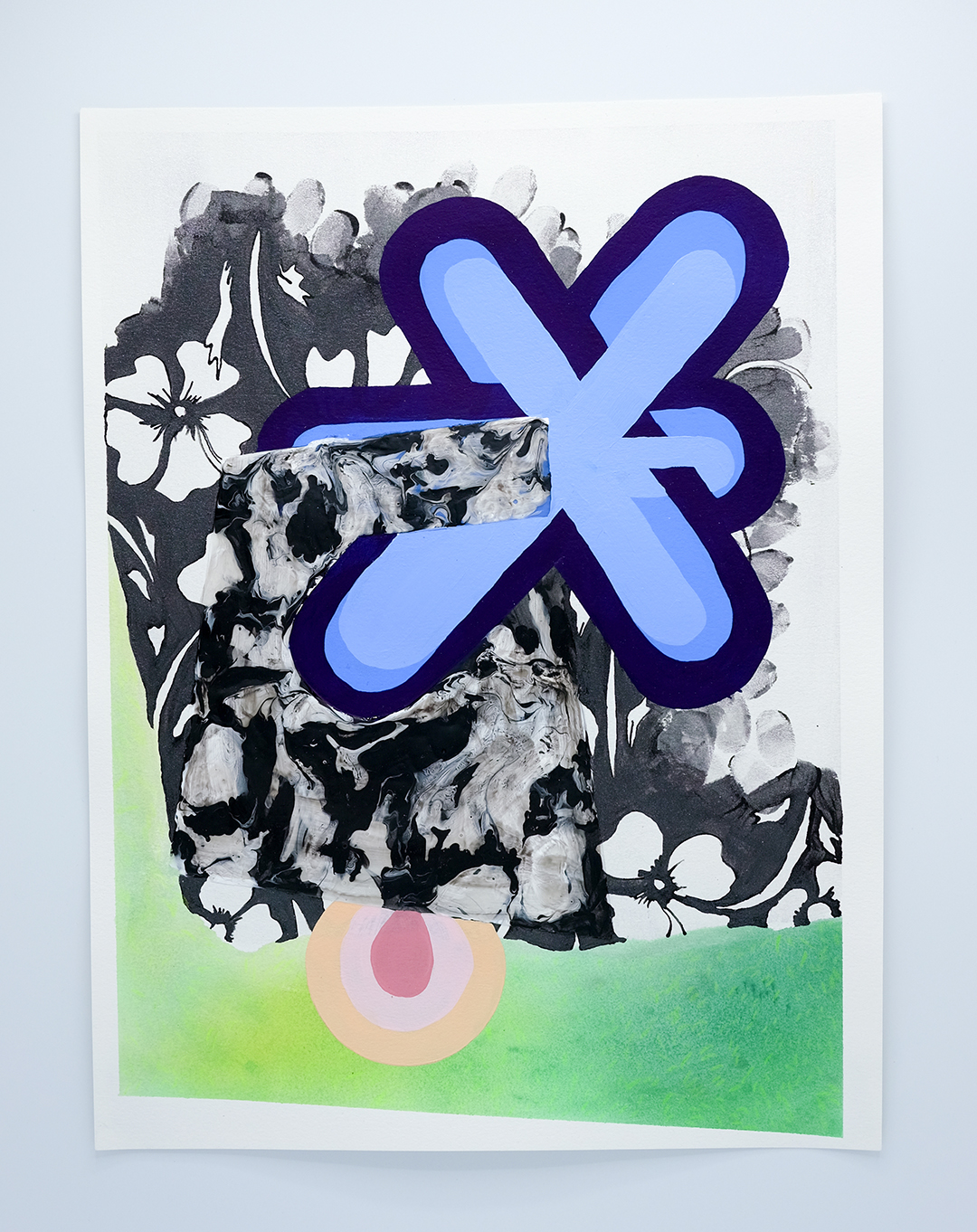 "Pill Flower , acrylic on paper, 16"" x 12"" 2018"