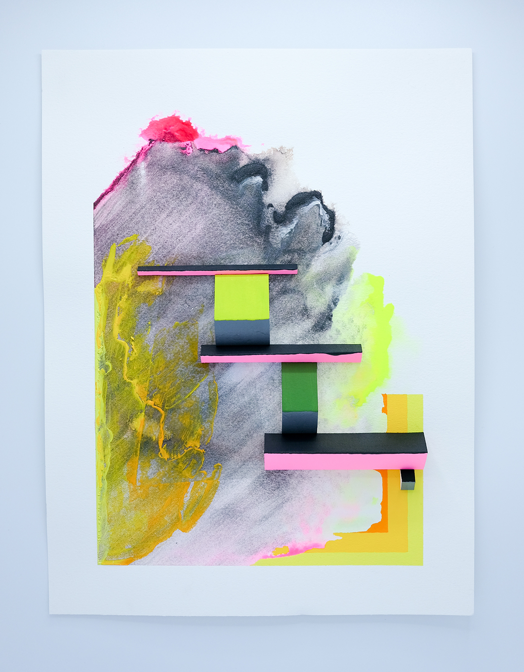 "The Bridge , paper constructions, acrylic on paper, 16"" x 12"" 2018"