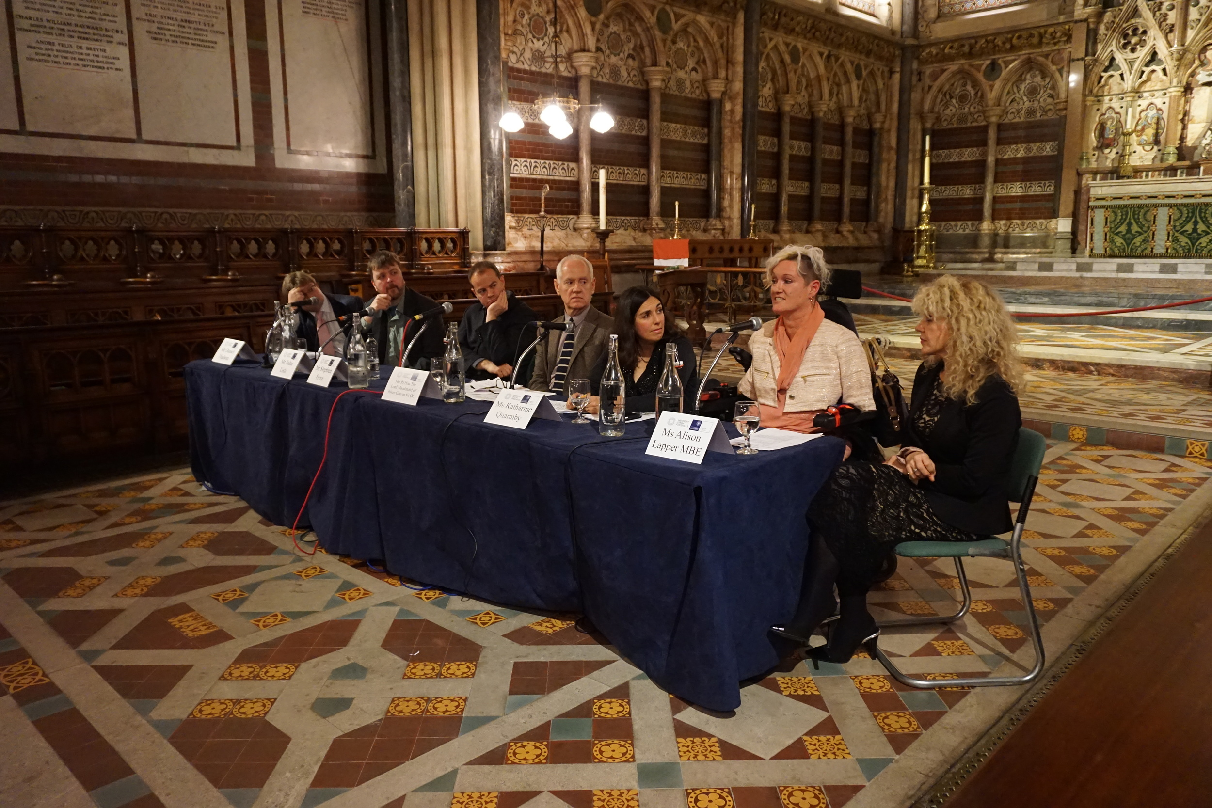 The inaugural conversazione, 2014, in Keble College Chapel with, from left to right, Daniel Hudson, John Lish, Stephen Frost, Lord Macdonald, Katharine Quarmby and Alison Lapper