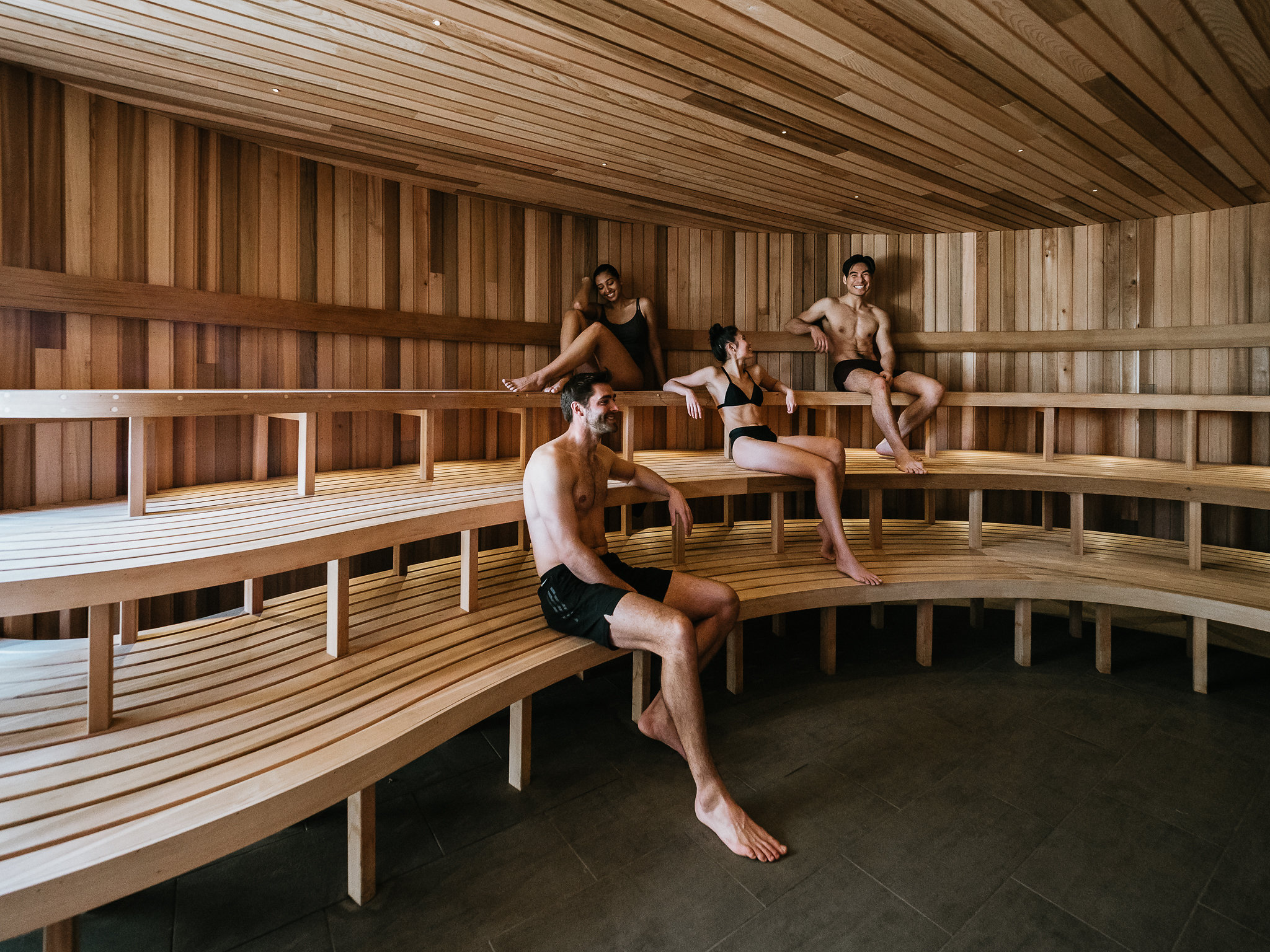 Warming up in the sauna