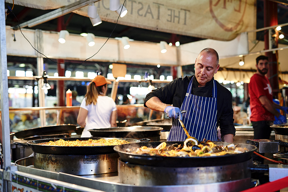 Paella at the summer night markets