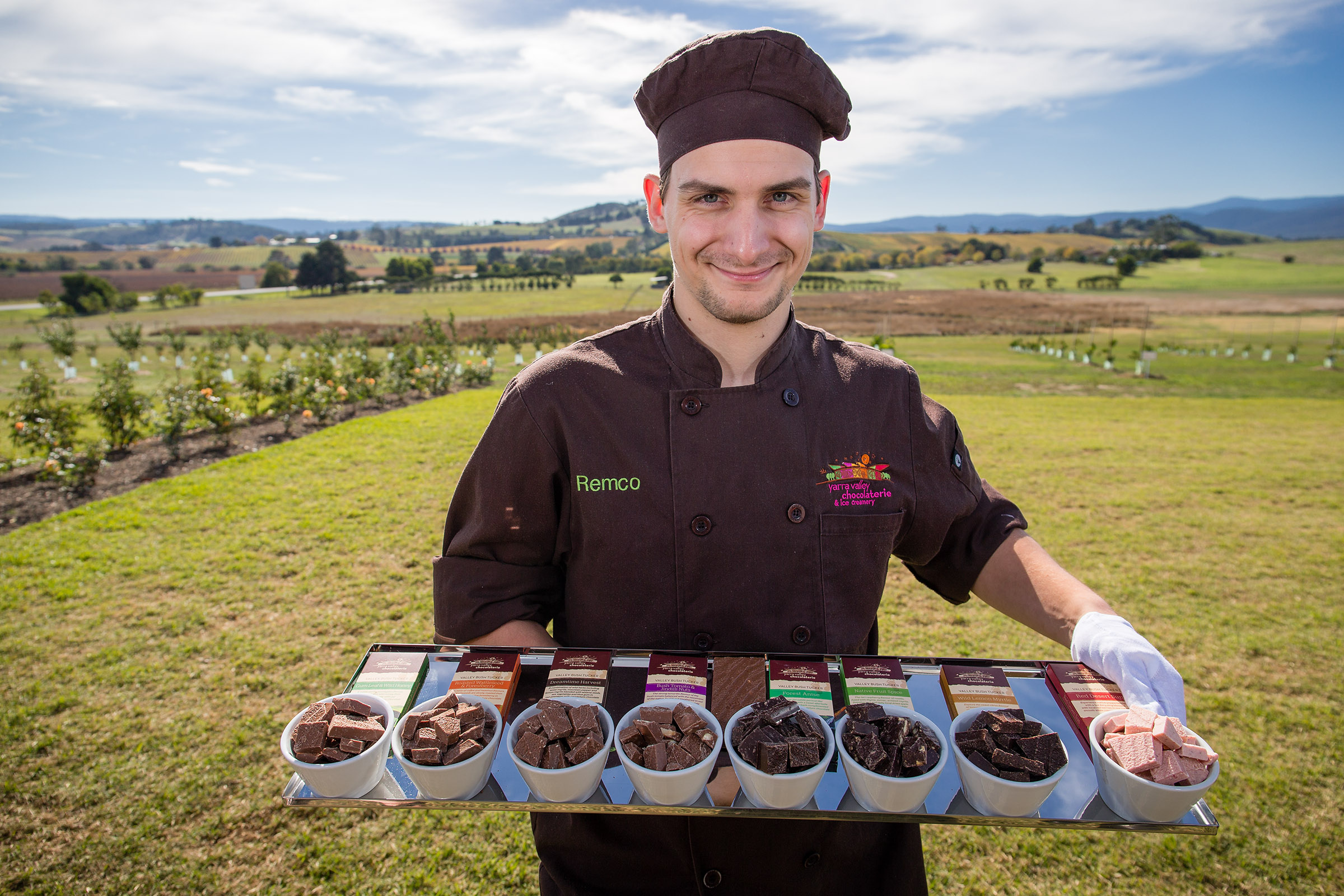 Yarra Valley Chocolaterie & Ice Creamery_Chocolatier Remco with the newly launched Bush Tucker chocolate range .jpg