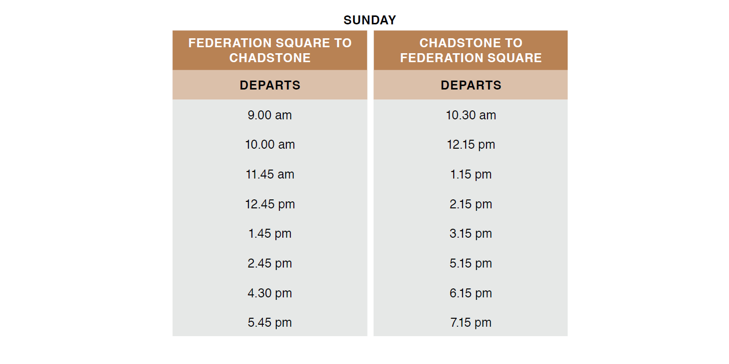 Sunday Timetable