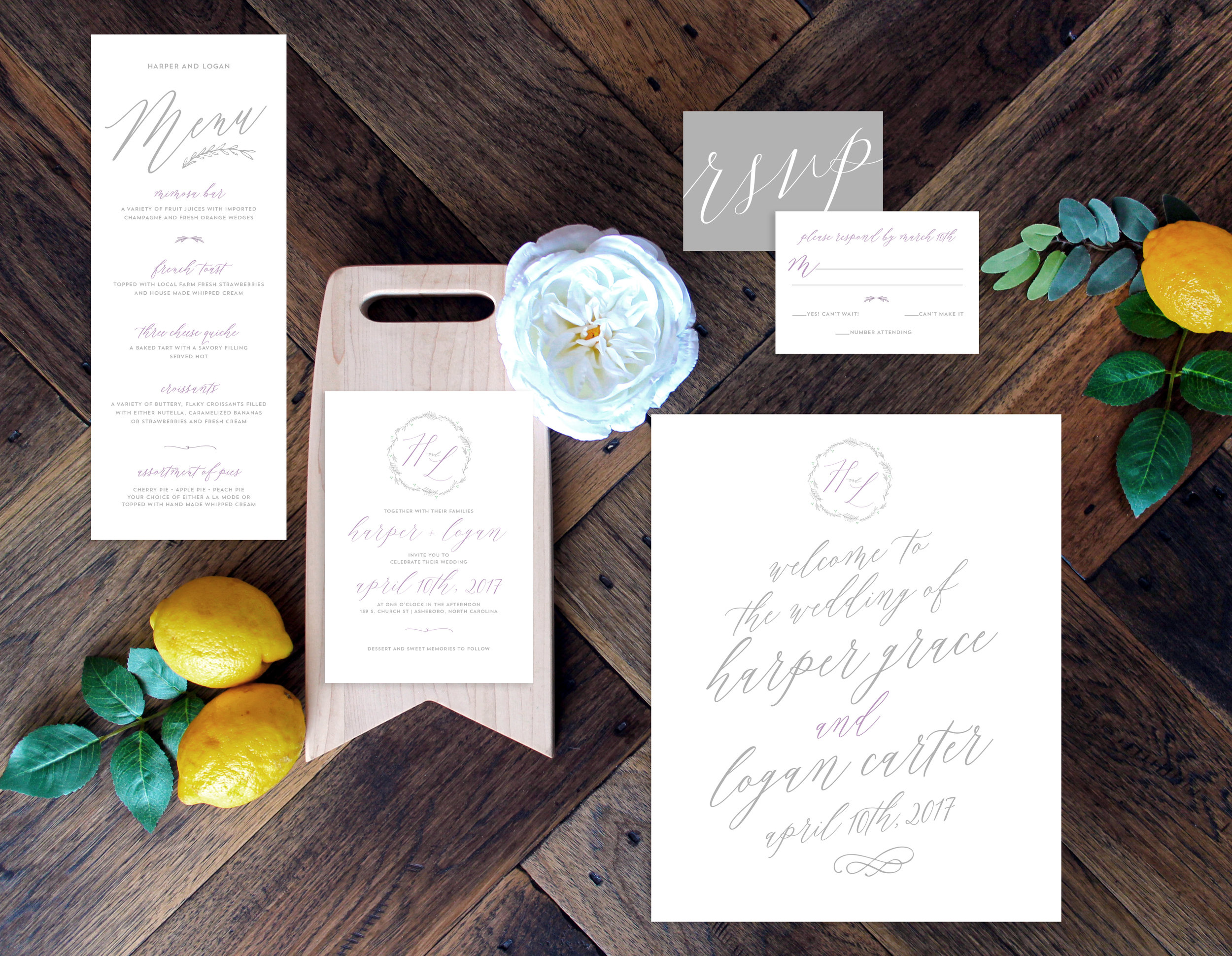 Gray & Lilac Calligraphic Suite for Your Wedding, YellowHeartArt.com @YellowHeartArt