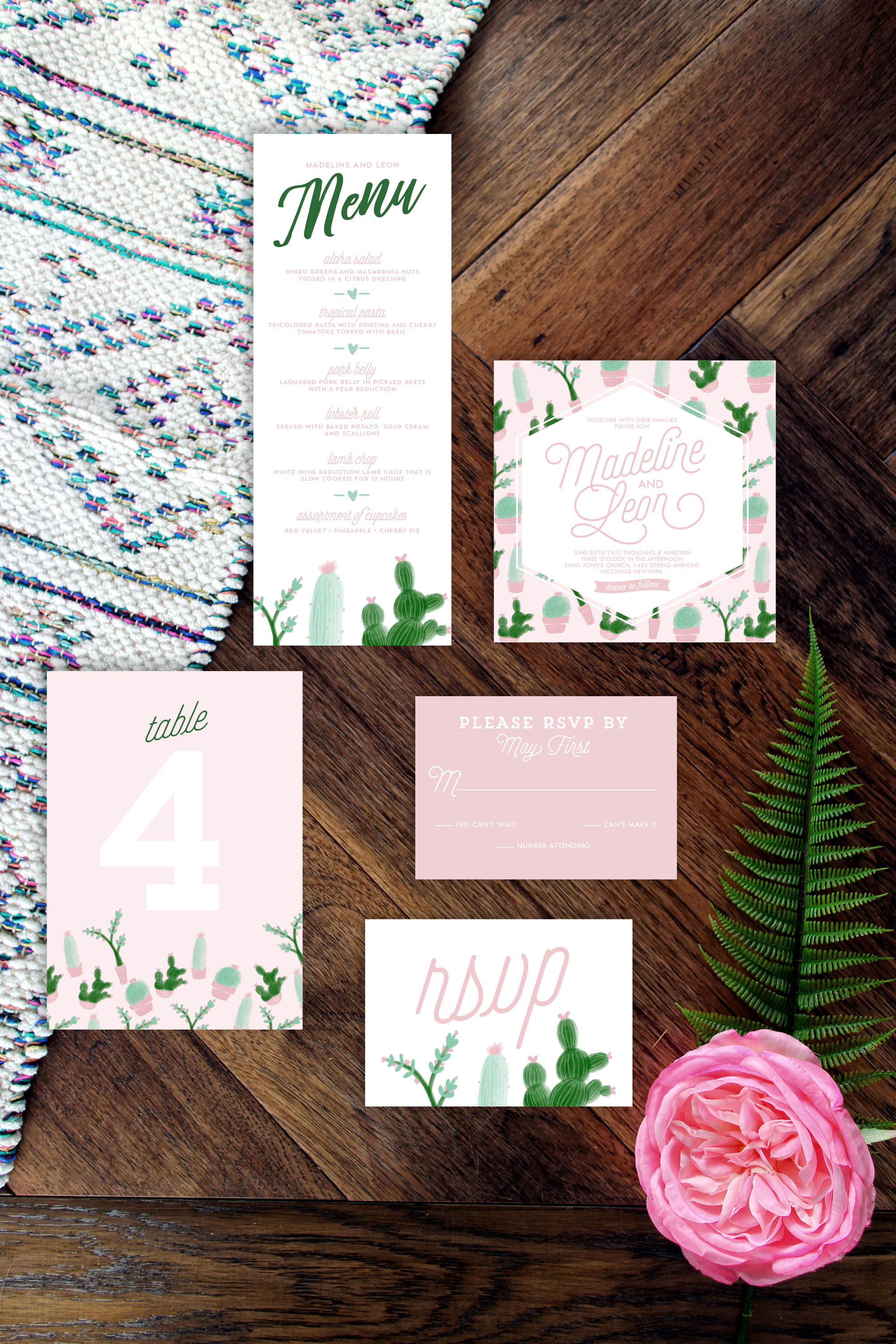 Cactus and Succulent Suite in Blush Pinks and Greens for Your Wedding and Evenet! YellowHeartArt.com @YellowHeartArt