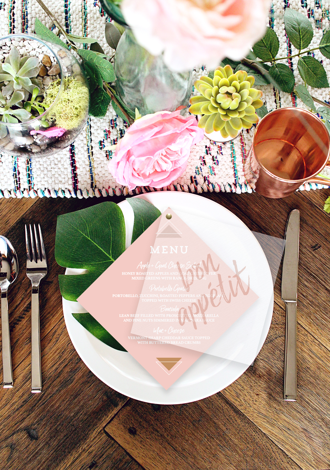 Blush Diamond Wedding Menu