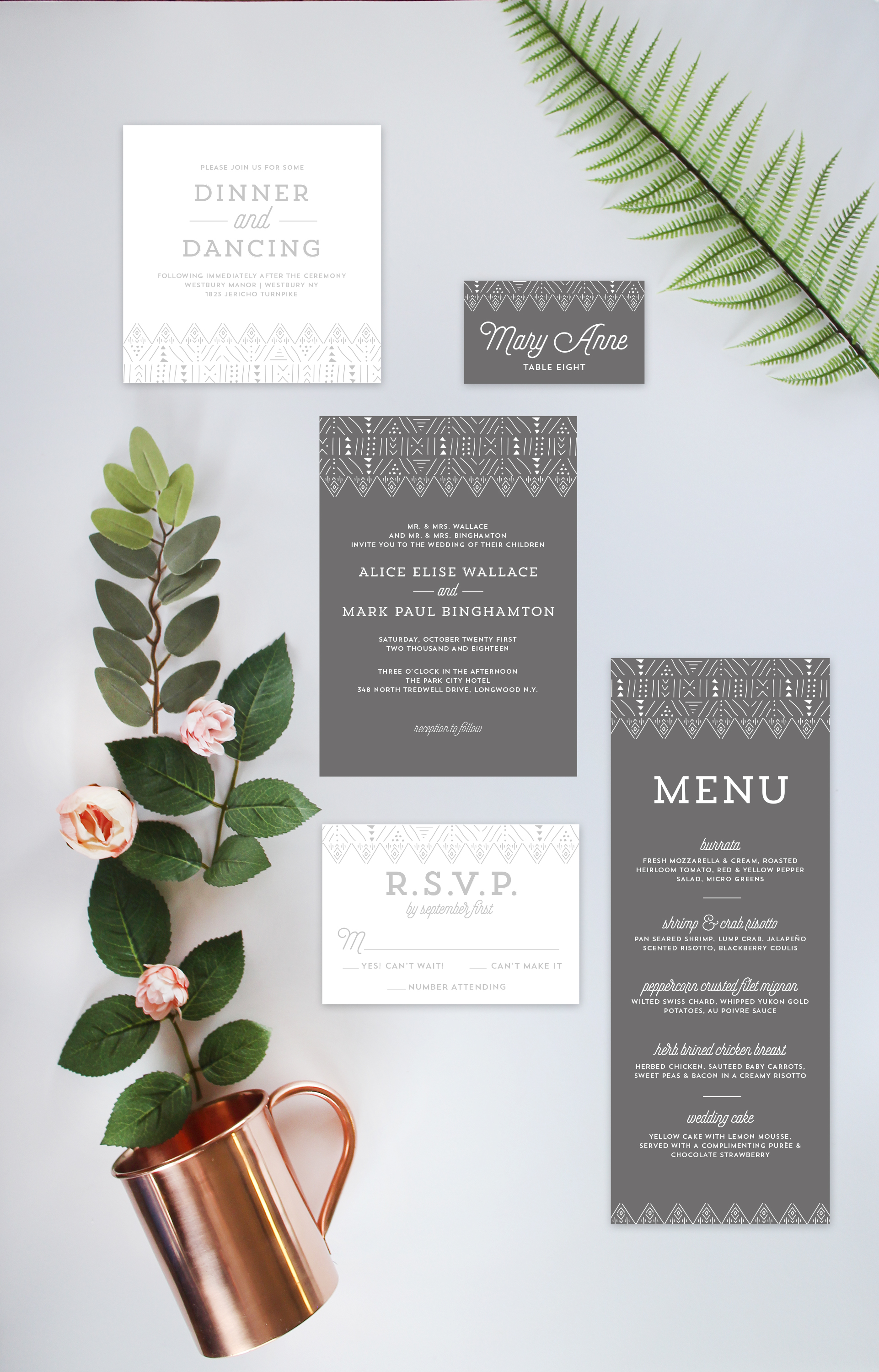 Geometric Aztec Gray Wedding Invitation Suite by Yellow Heart Art.jpg