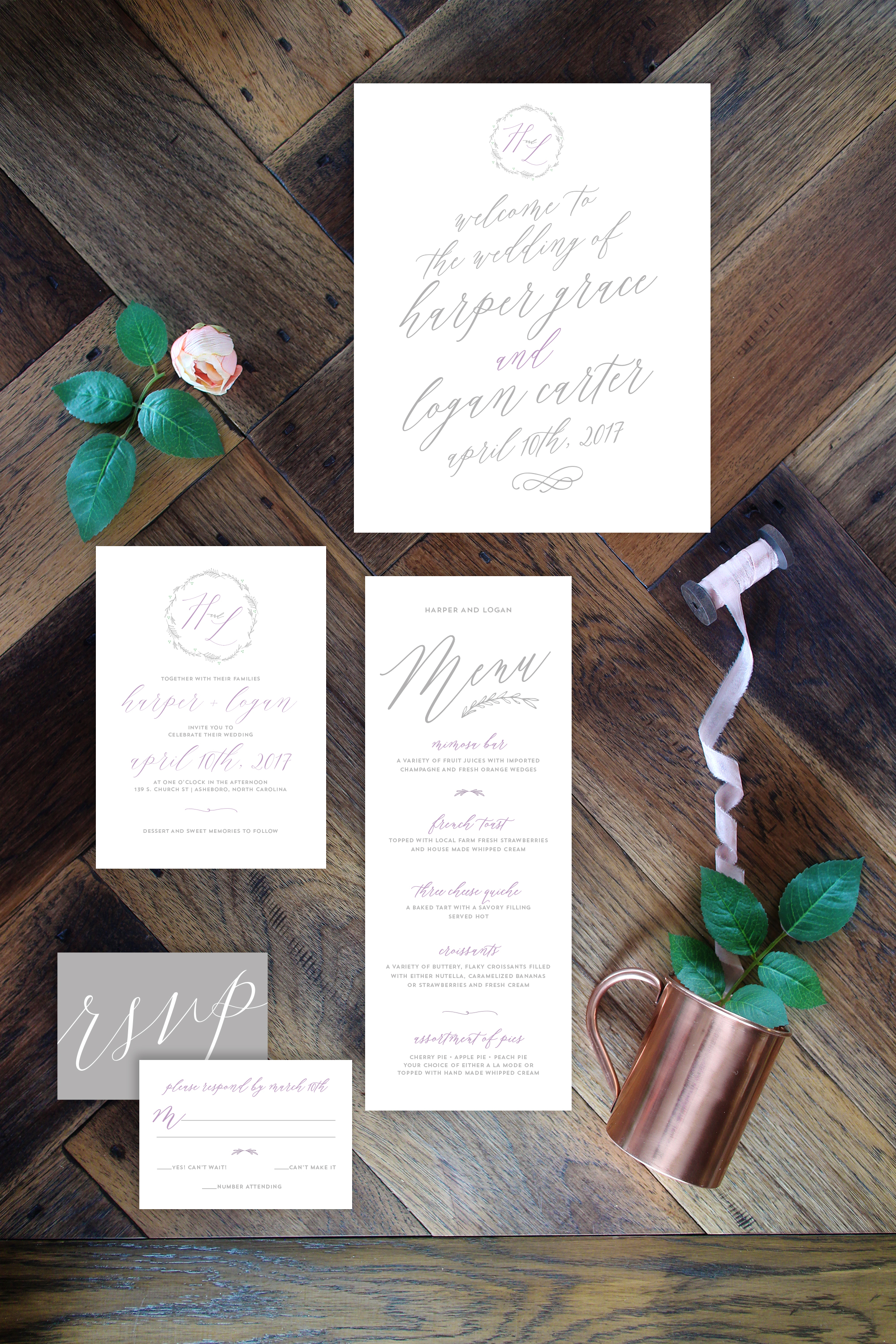 Calligraphic Lilac and Gray Wedding Suite by Yellow Heart Art.jpg