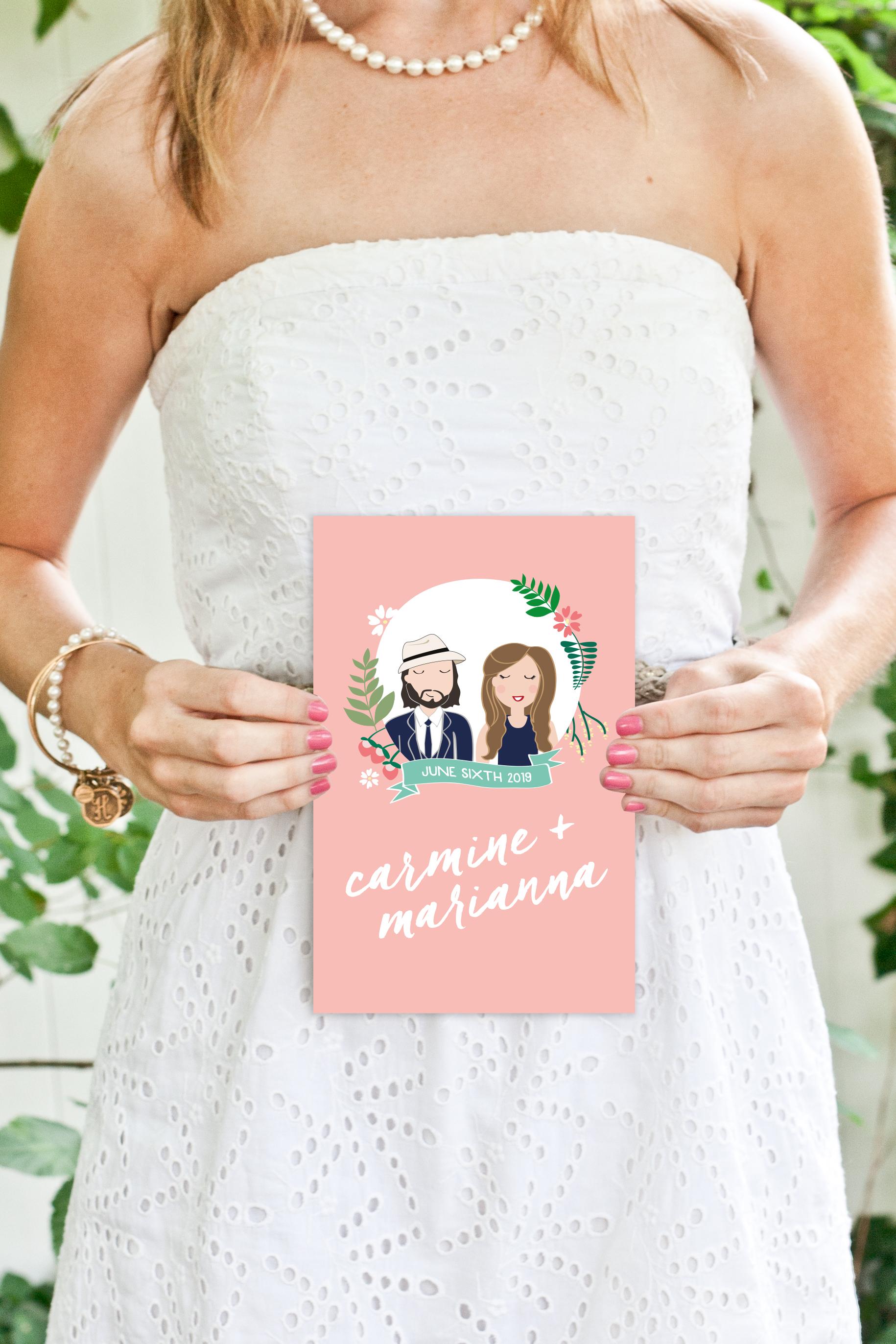 custom portraits front of wedding program by yellow heart art.jpg