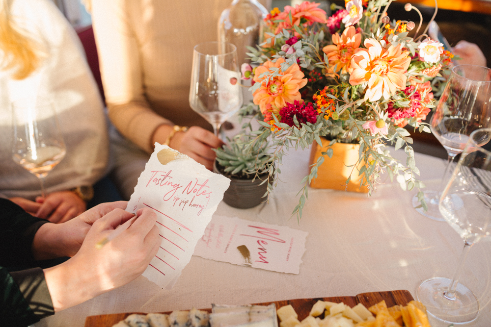 deckled edge calligraphy menu and wine tasting cards for your wedding by YellowHeartArt.com