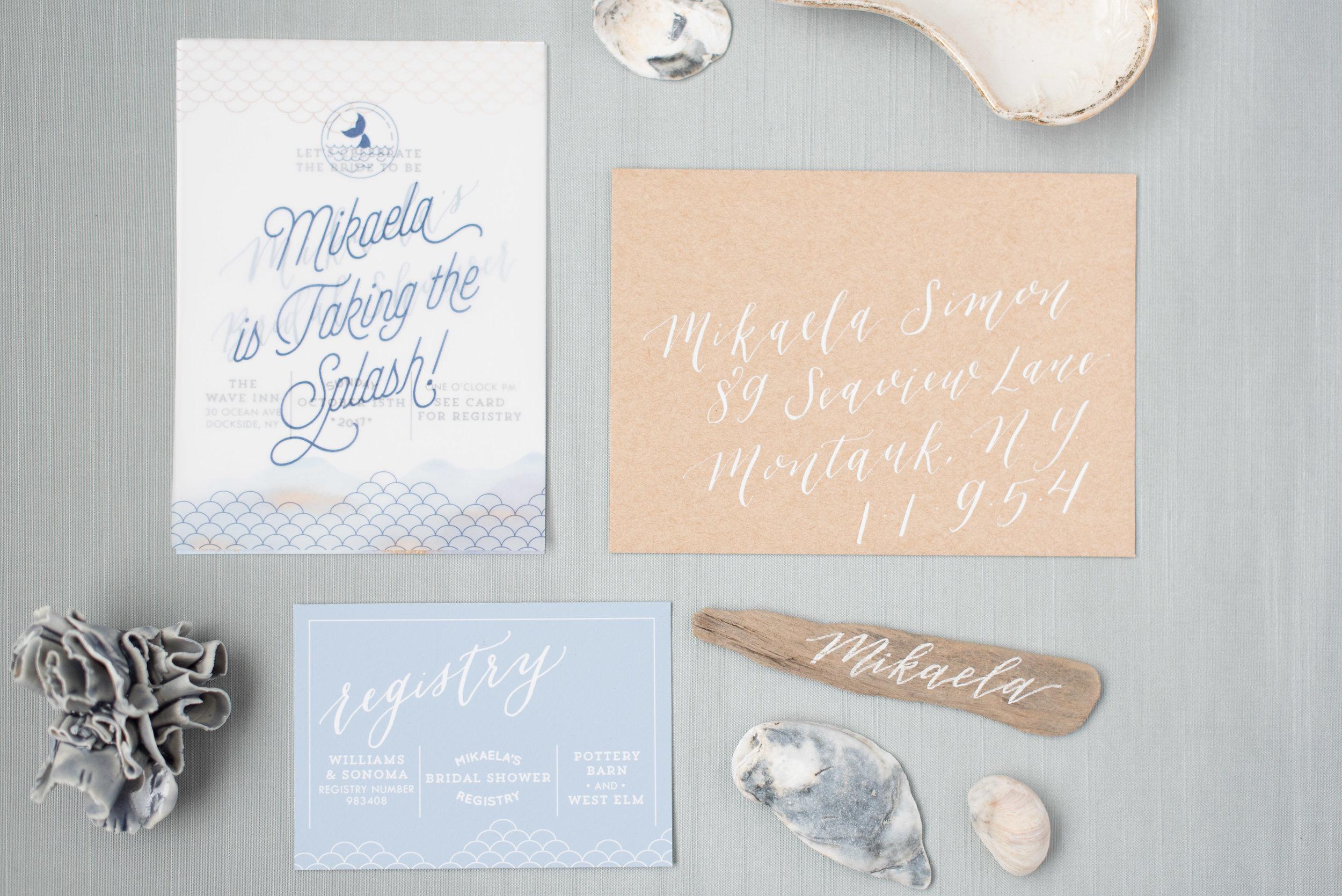 mermaid watercolor bridal shower brunch invitation in dusty blue