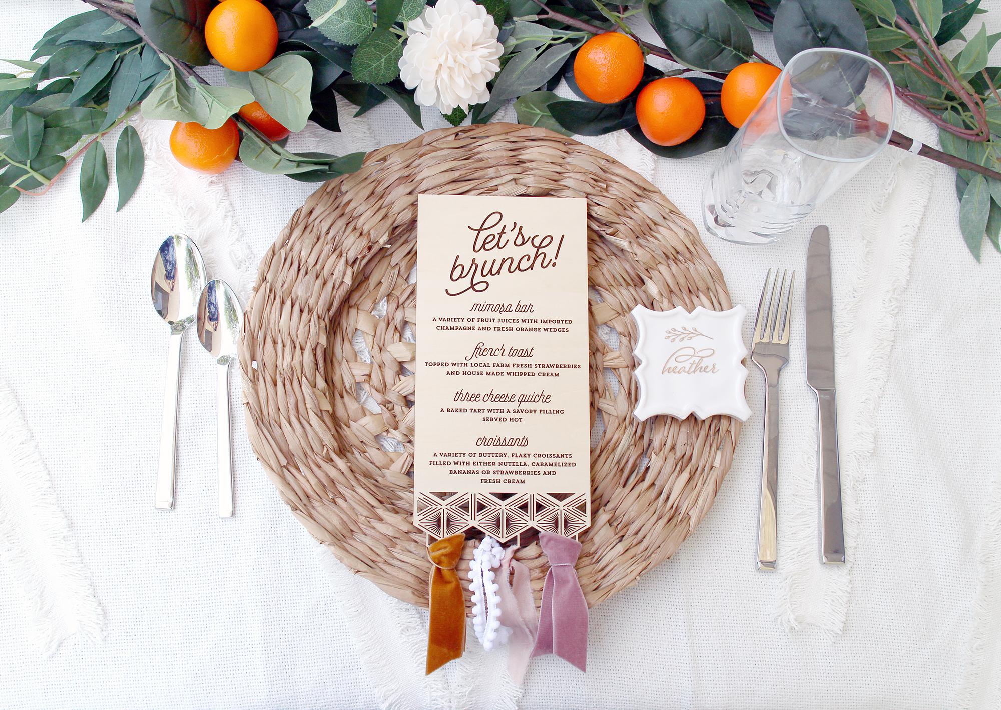 geometric boho elegant menus