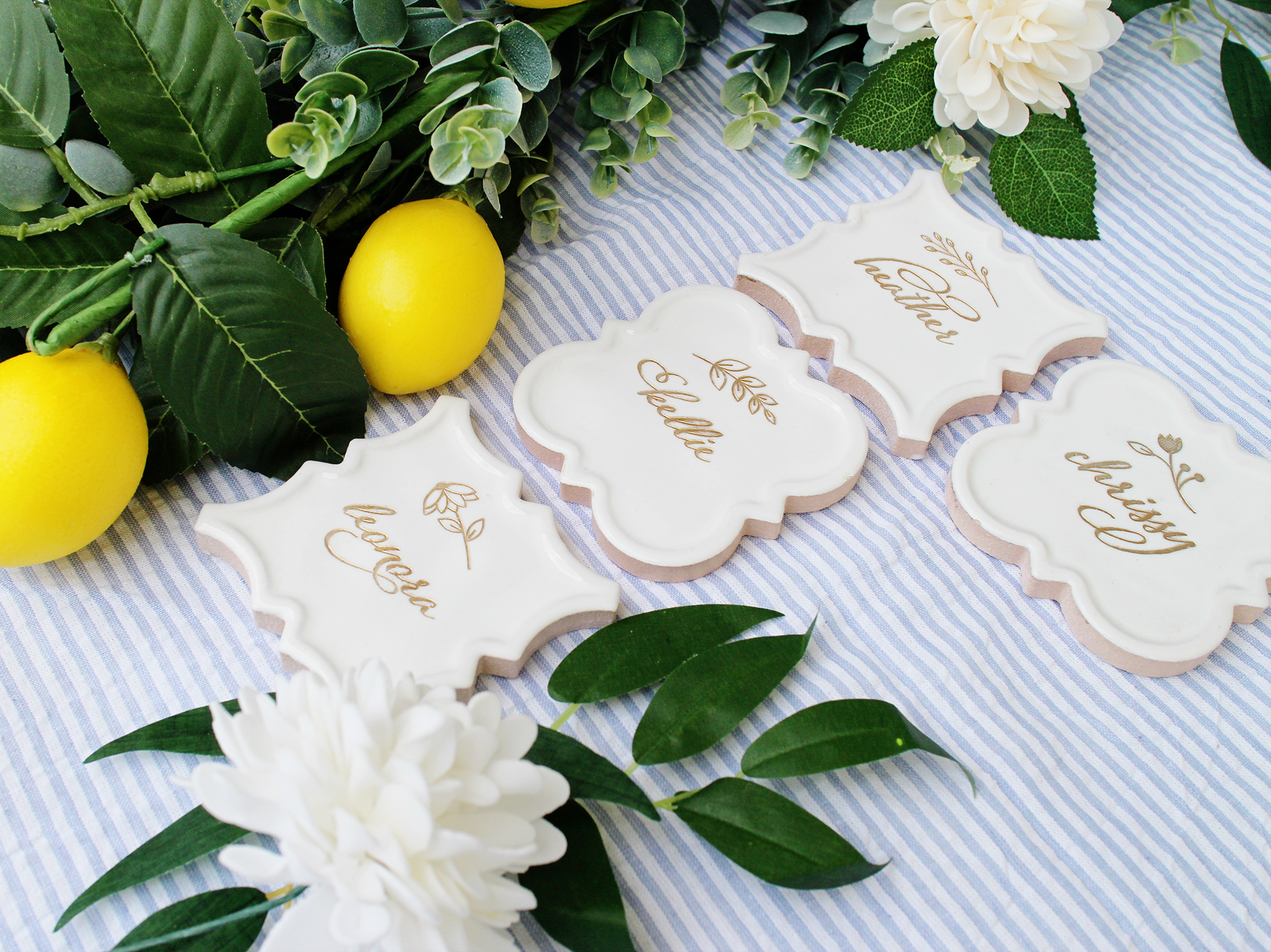 beautiful preppy seersucker southern tile name tags white and gold place card escort card seating chart boho wedding boho bridal shower yellow heart art etsy.jpg