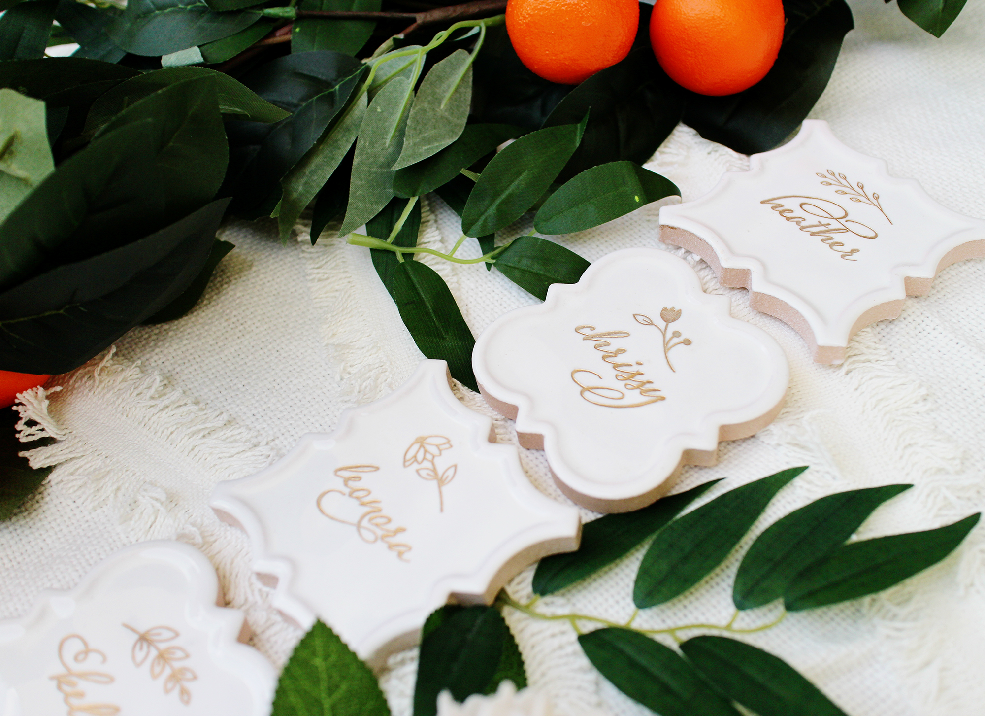 floral design beautiful moroccan tile name tags white and gold place card escort card seating chart boho wedding boho bridal shower yellow heart art etsy.jpg