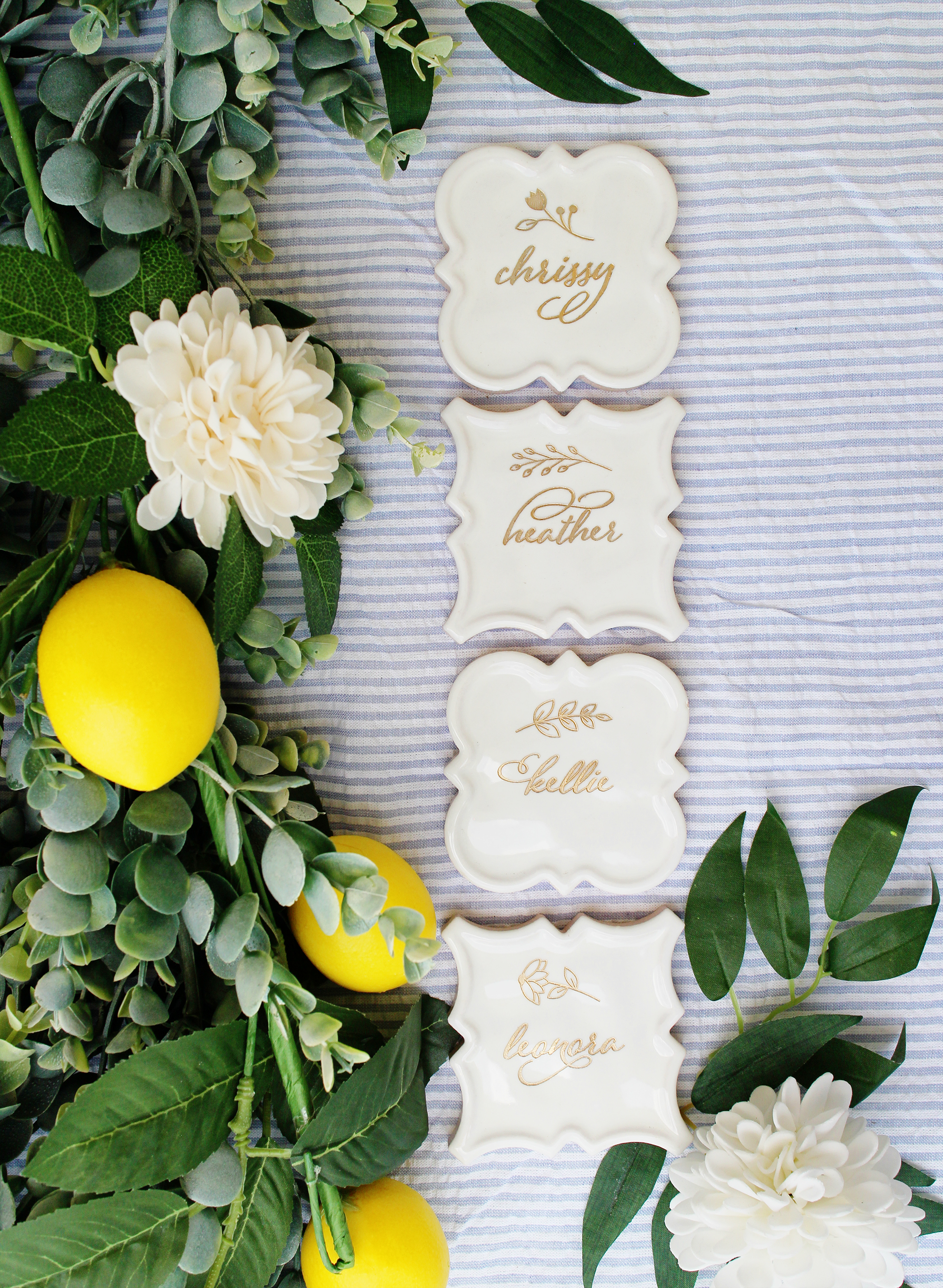 beautiful floral design preppy seersucker southern tile name tags white and gold place card escort card seating chart boho wedding boho bridal shower yellow heart art etsy.jpg