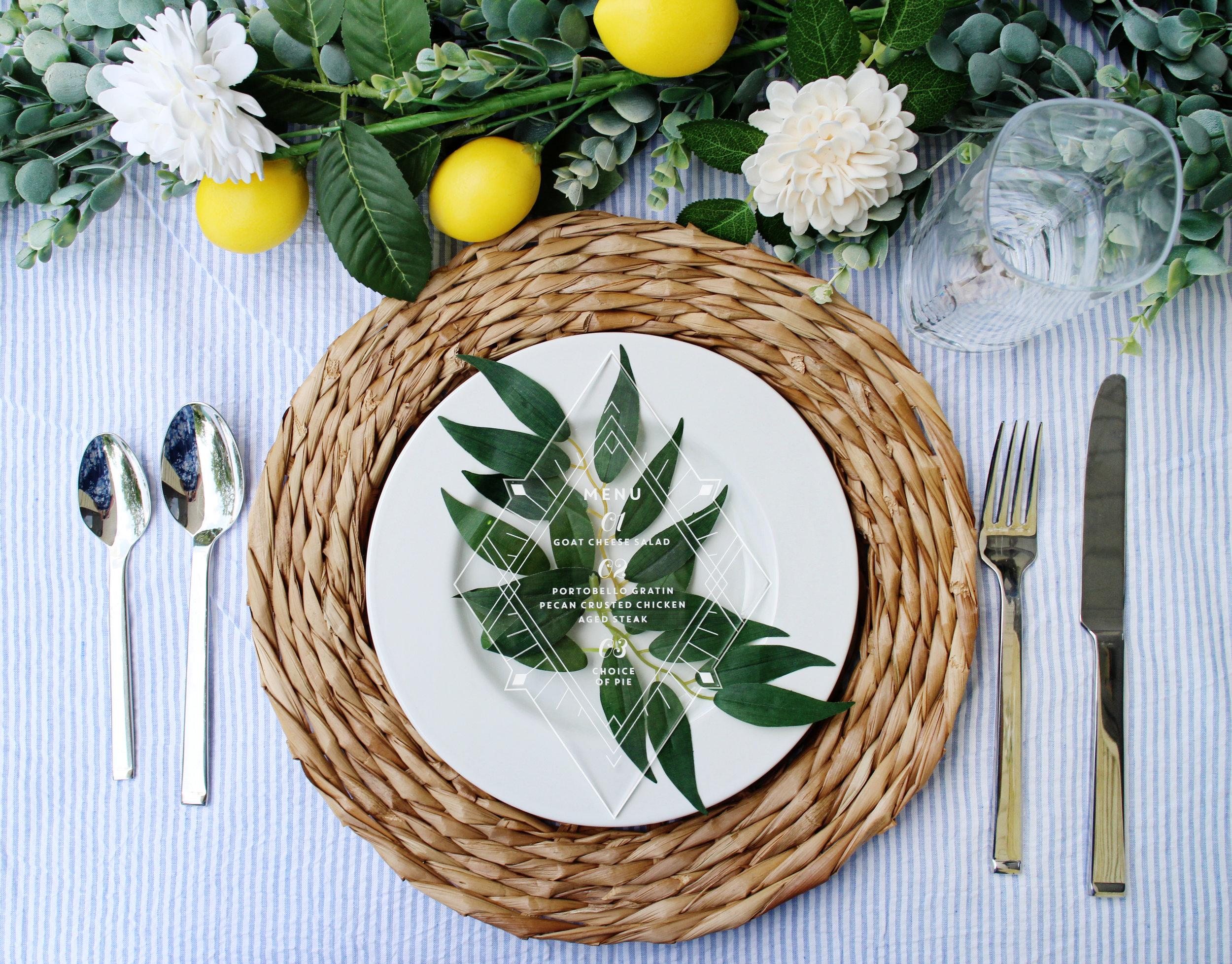 Clear Acrylic Diamond Boho Wedding Menu for Dusty Blue French Blue Wedding by Yellow Heart Art.jpg