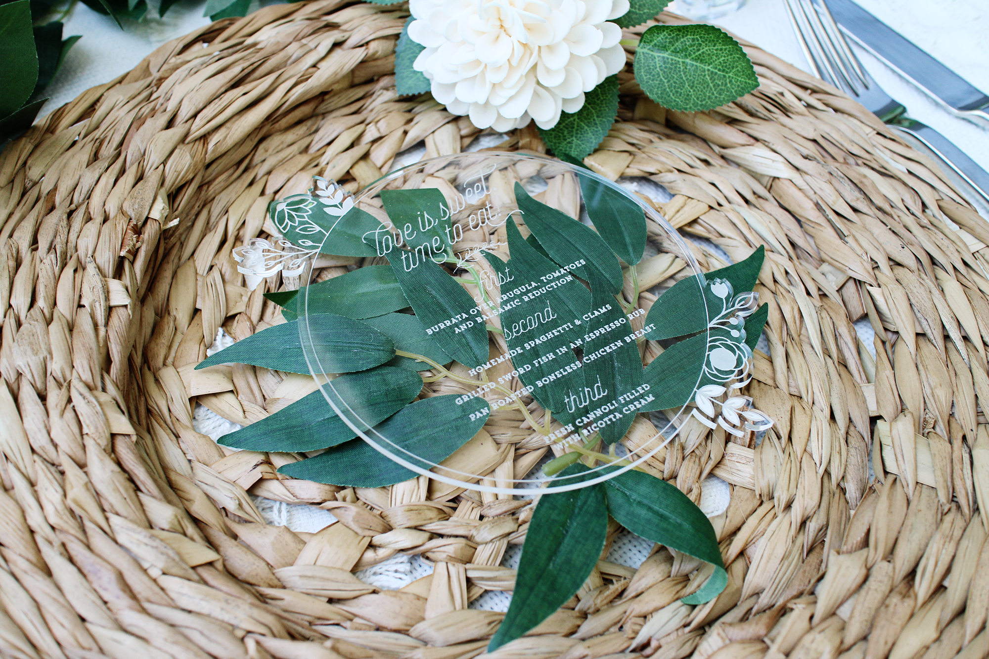 Boho Rattan Floral Circle Acrylic Wedding Menu for Rustic Modern Elegant Southern party Yellow Heart Art etsy.jpg
