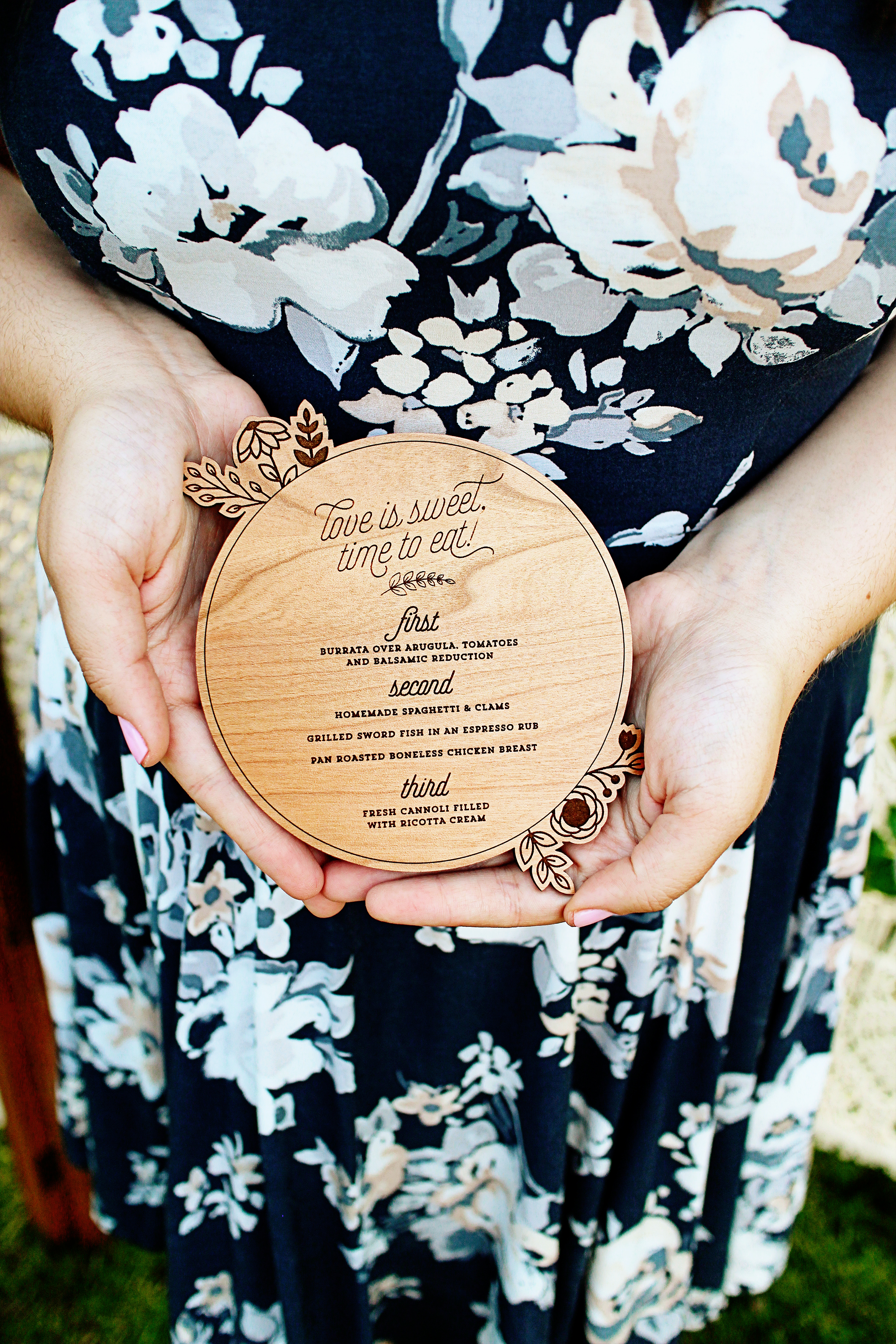 Floral Circle Wooden Wedding Menu for Rustic Modern Elegant Southern Vintage party Yellow Heart Art etsy.jpg