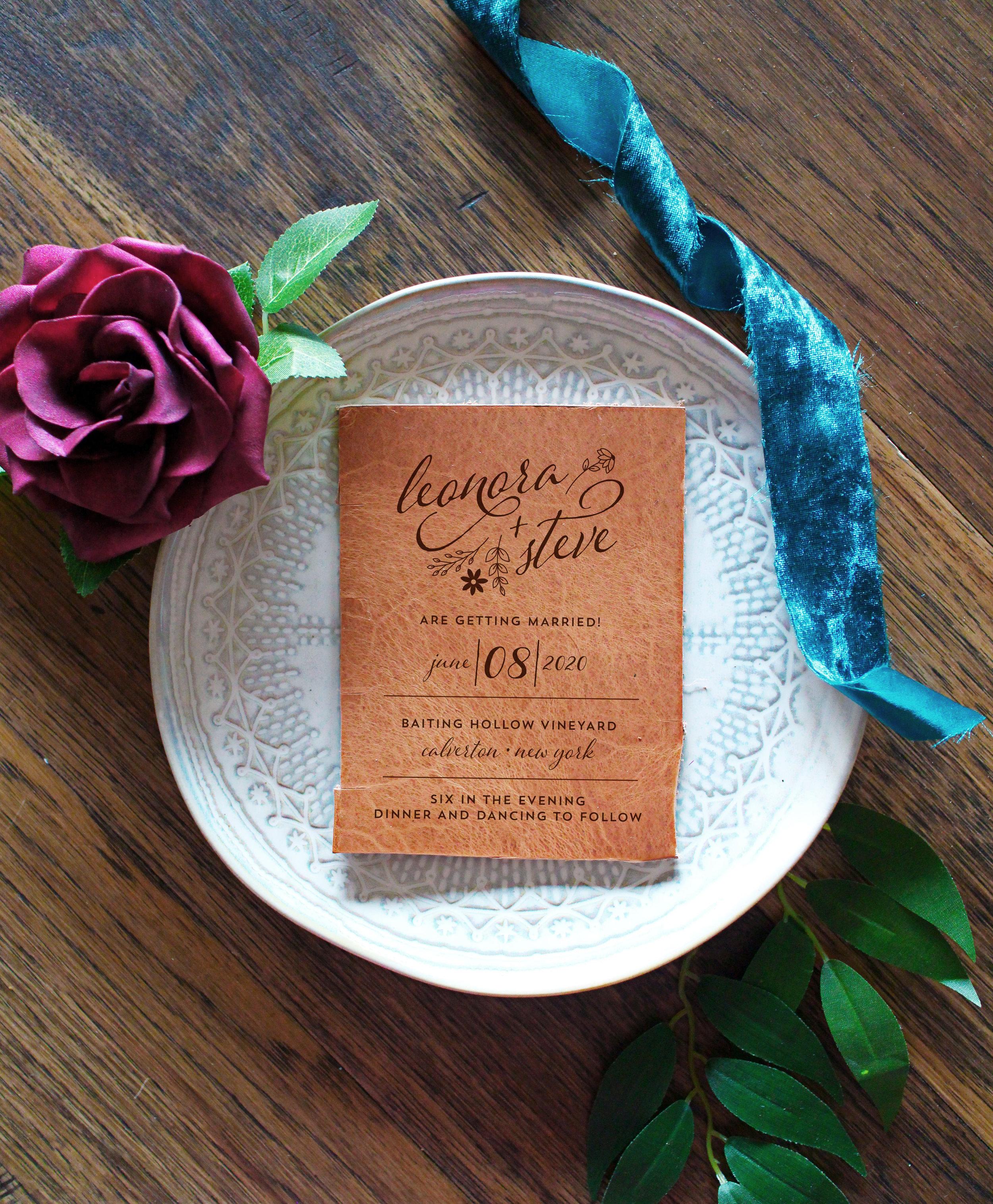 leather engrave wedding invitation
