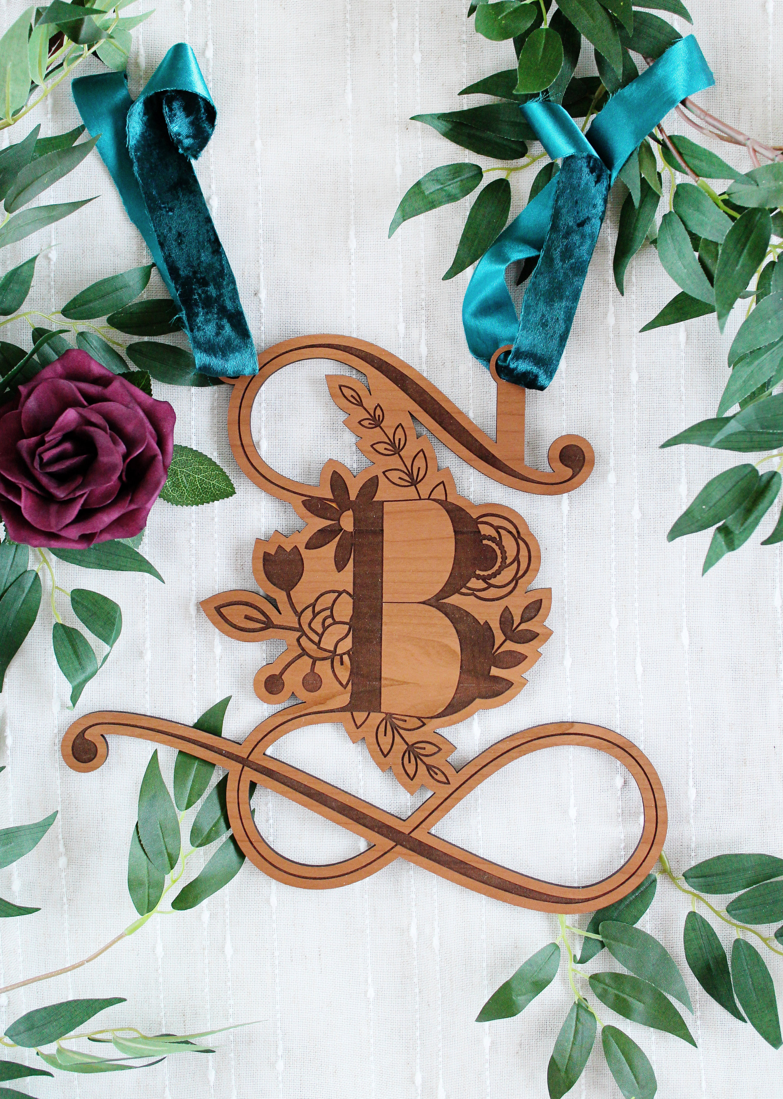 wooden floral monogram for sweetheart table wedding decor rustic wedding boho wedding bridal shower signage baby shower signage nursery decor monogram custom yellow heart art smaller v2.jpg