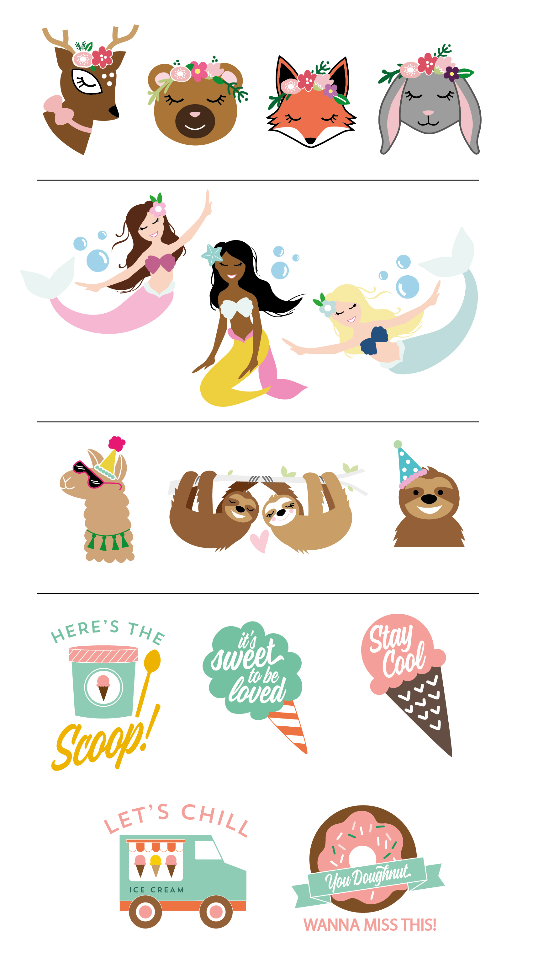 Various Illustrations for Greeting Cards and Sticker Designs by Leonora of Yellow Heart Art