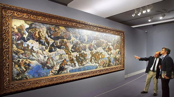 STUDY FOR 'PARADISE' by TINTORETTO, 5.5' x 16' OIL ON CANVAS. THE FINAL WORK IN VENICE MEASURES 74' X 30' AND WAS THE LARGEST CANVAS INSTALLATION OF ITS TIME (MuseoThyssen.org)
