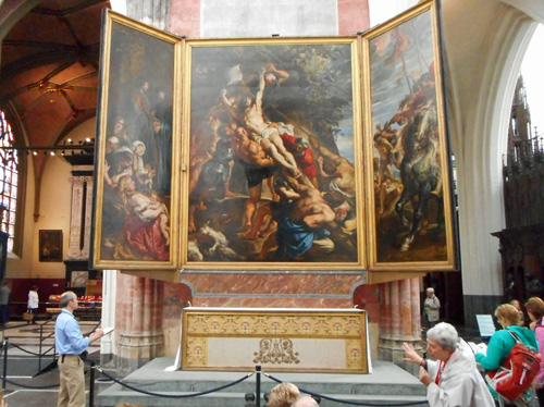'RAISING OF THE CROSS' by RUBENS, 15' X 11' NOT INCLUDING SIDE PANELS, OIL ON WOOD (C.Vanbeveren)
