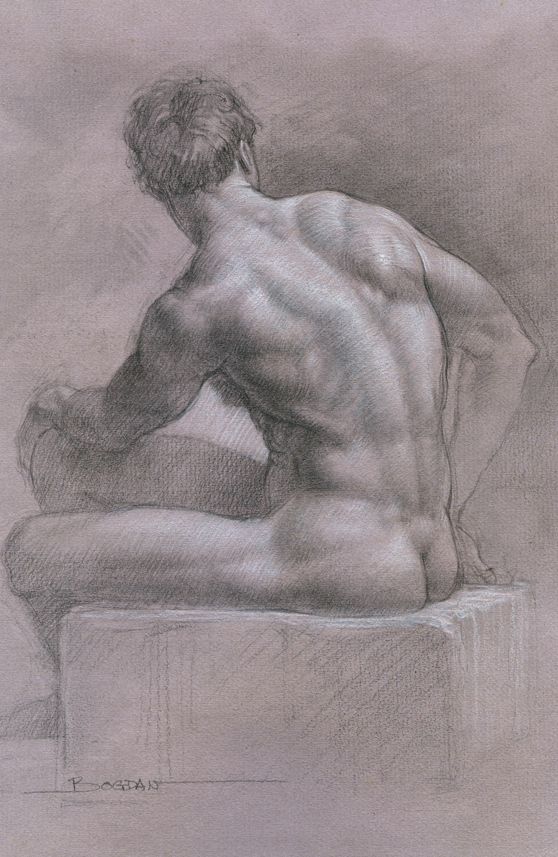 SEATED MALE NUDE (Chalk pencil drawing)