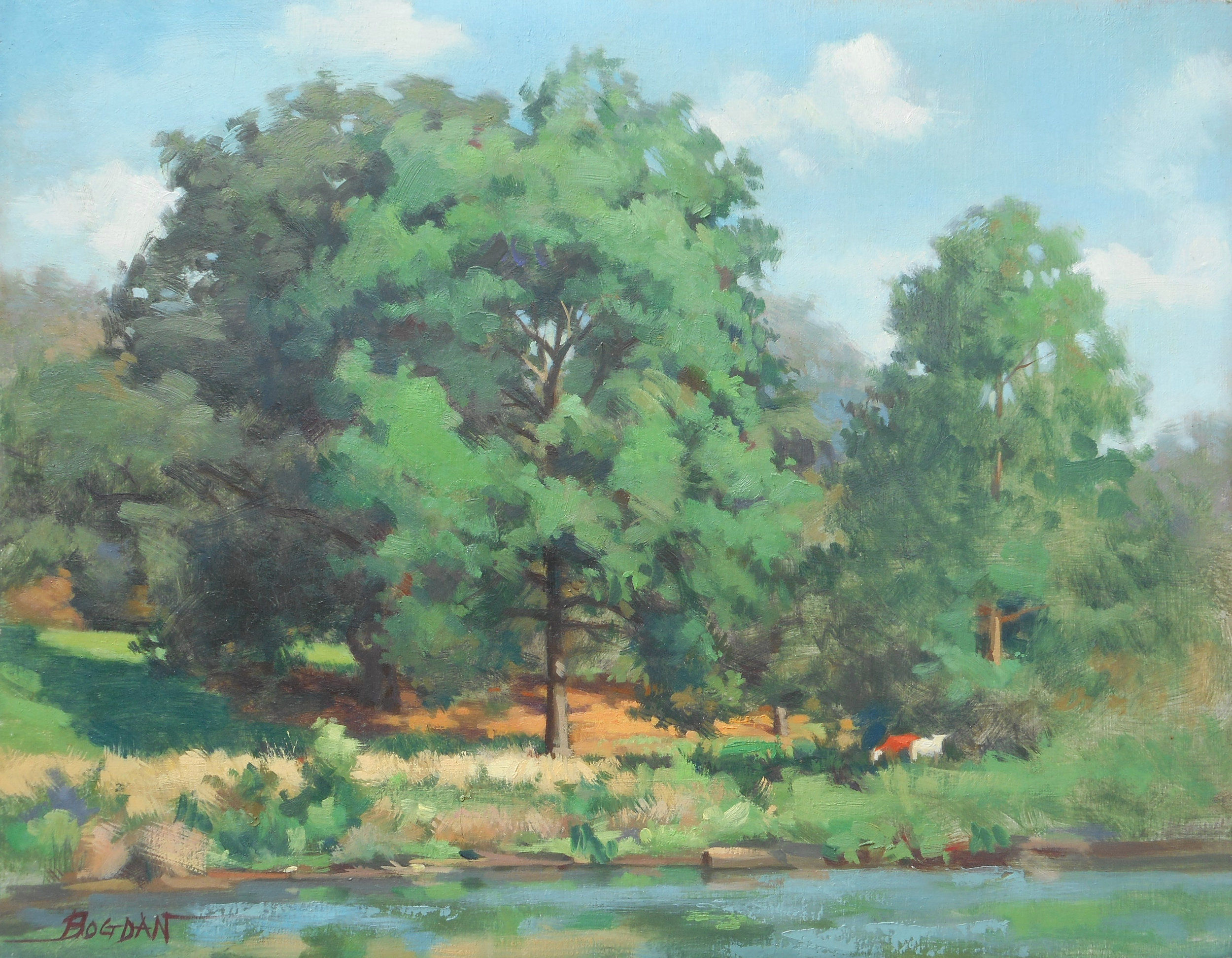 Landscape of Trees by Pond (Oils)