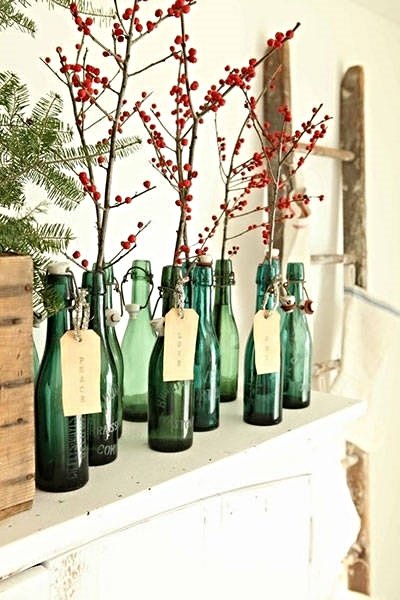 Cool bottles and branches add just the right modern meets vintage touch. Harper's Bazaar