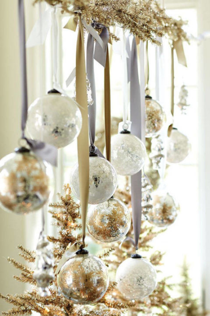 String ornaments on ribbons from a piece of garland.  @buzzfeed
