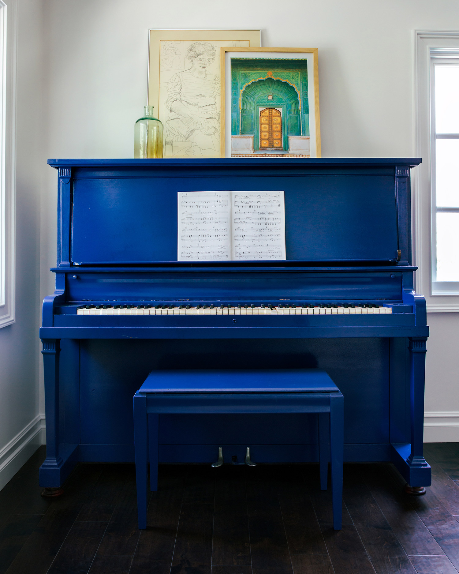 TICKLING THE IVORIES  Everything is better in blue.