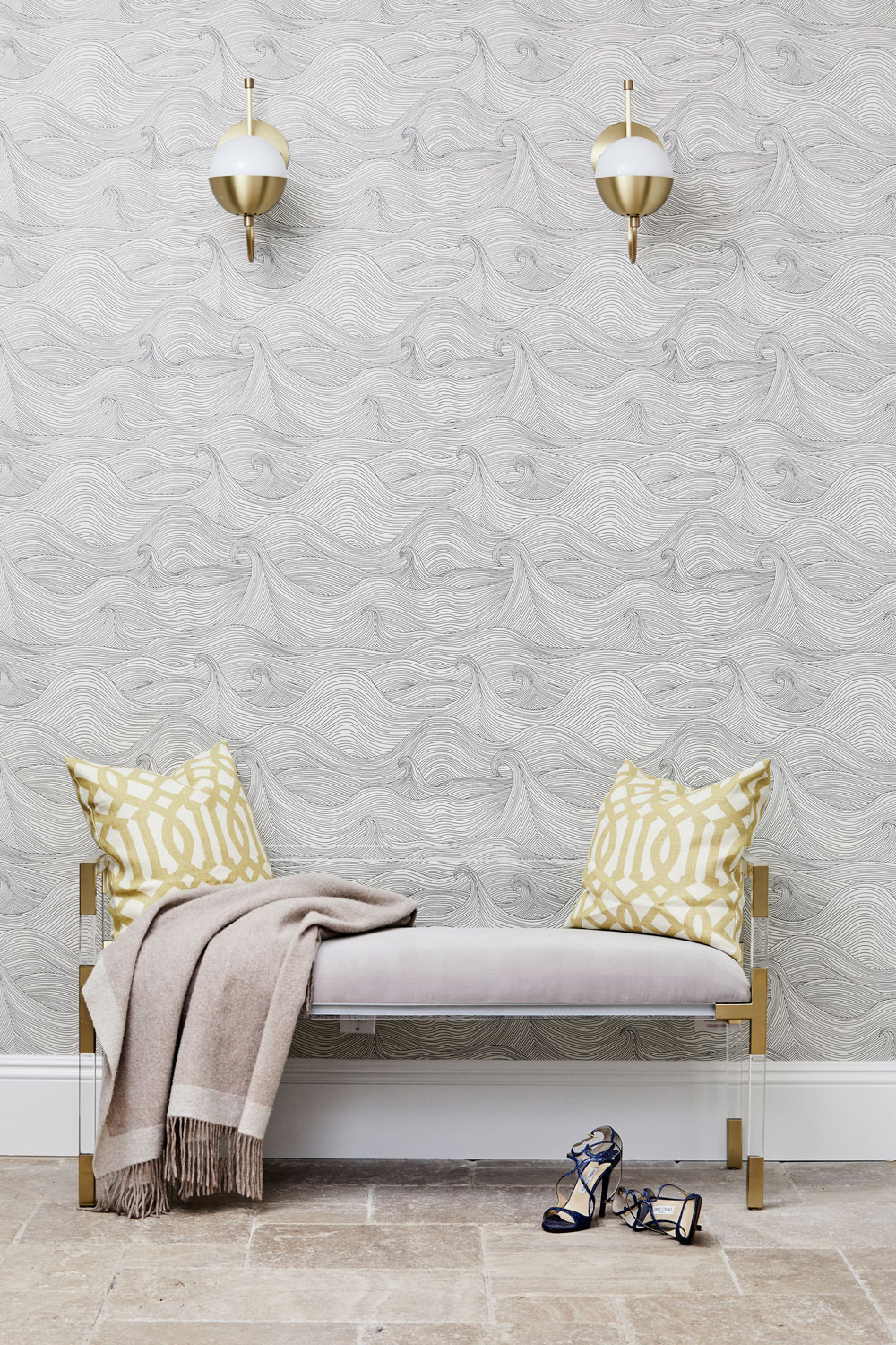 Every entertaining space needs a quiet spot to catch-up with friends. Or enjoy simply beautiful wallpaper from Abigail Edwards Seascape collection.