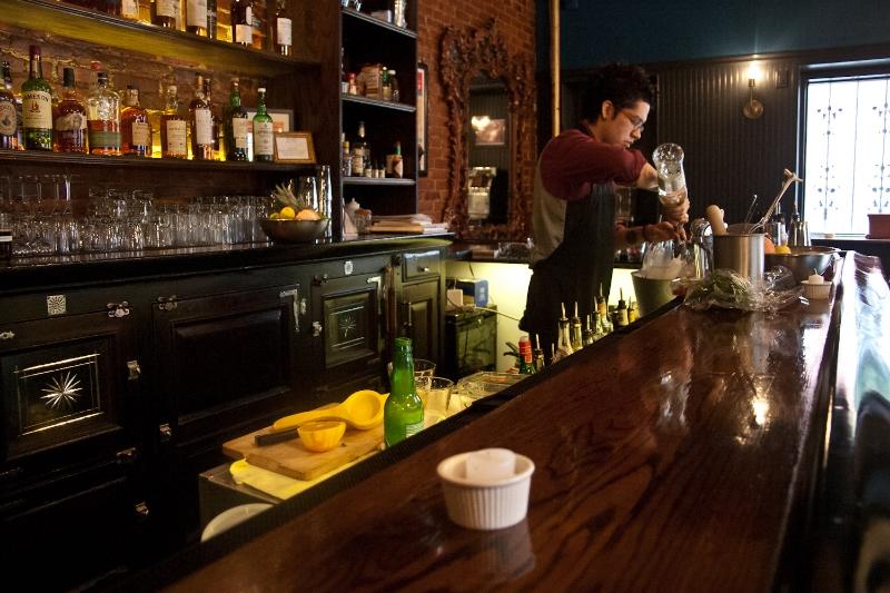 Beverage Director, Oscar Takahashi Olivares prepares The Rosemor cocktail
