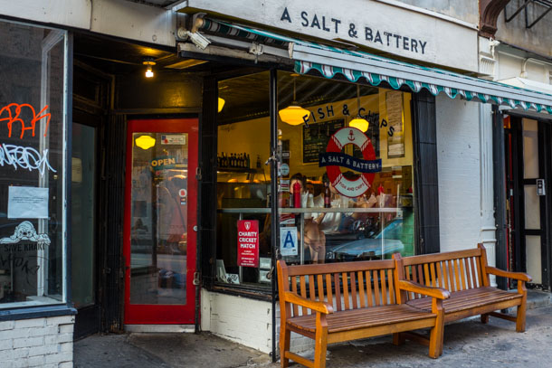 A Salt & Battery on Greenwich Avenue. Prince William and Kate Middleton would look fetching on that bench. Photo: Nick Solares