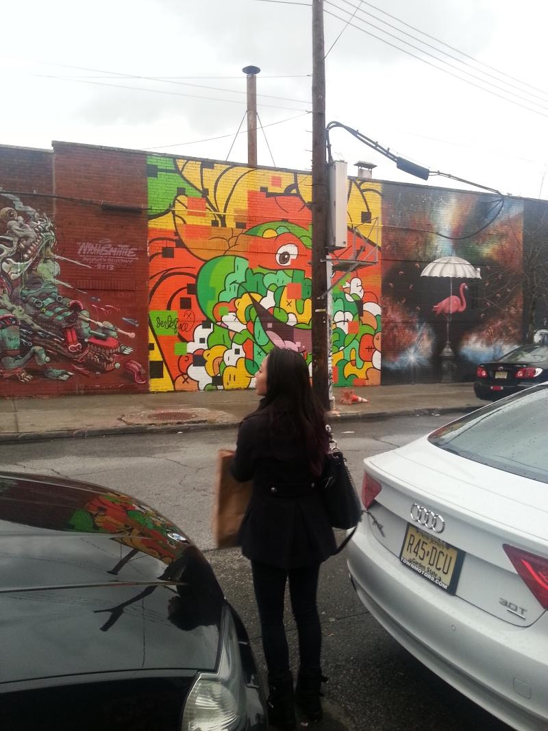 Taking in a block full of street art in Bushwick