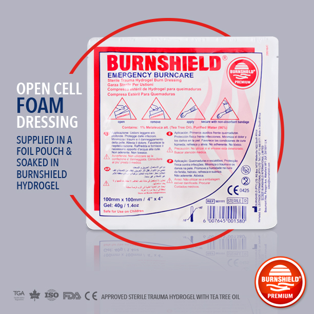 """The 4""""x4"""" Burn Dressing. This novel product is a sterile water-based gel soaked burn dressing designed to cool the burn and protect the wound from infection. A true must have!"""