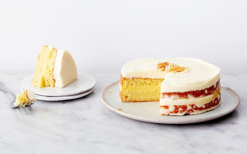 Almond Cornmeal Cake with Lemon Curd Filling and Lemon Buttercream