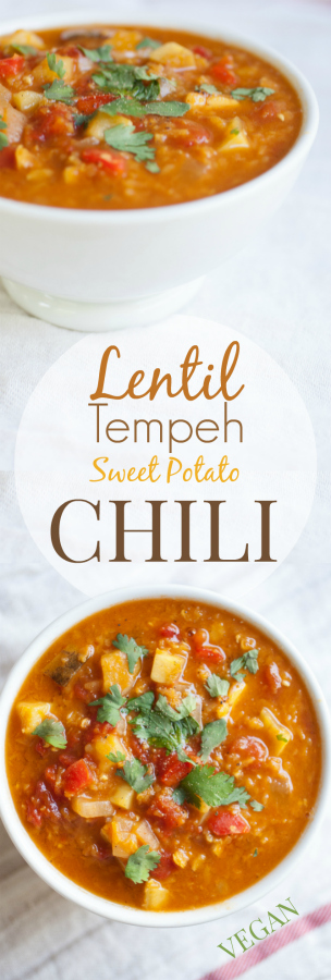Produce On Parade - Lentil, Tempeh, and Sweet Potato Chili