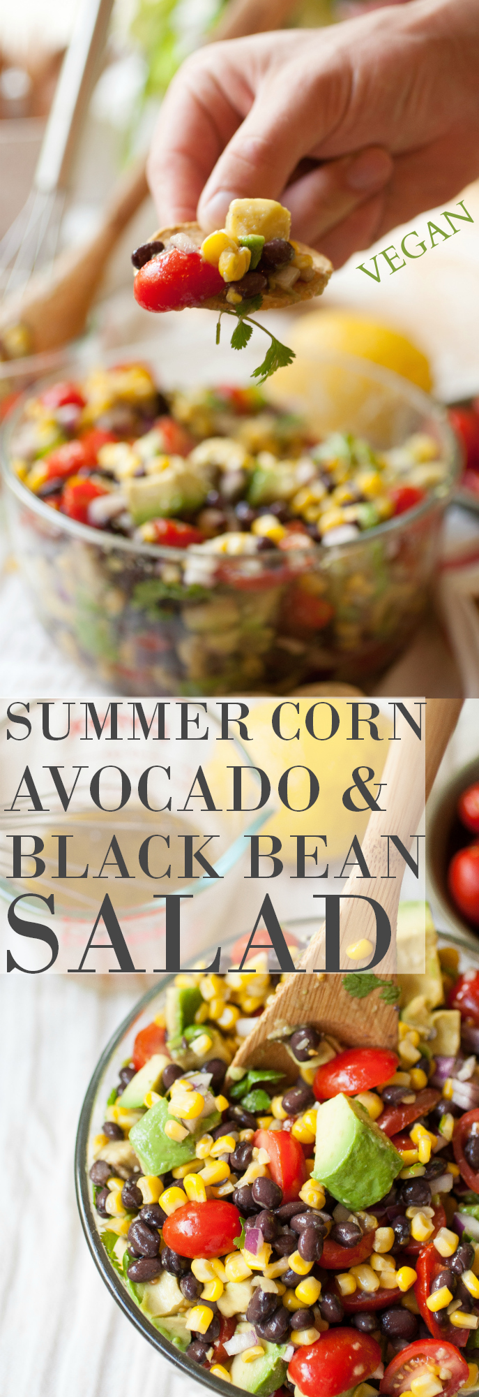Produce On Parade - Summer Corn, Avocado & Black Bean Salad - This salad is great all on it's on, as a sort of dip with chips, or even in a pita! Fresh and vibrant with creamy avocado, sweet corn, tart cherry tomatoes, black beans, and cilantro all in a tangy lemon dressing, it's an excellent dish to bring to a gathering! Share with your friends and family and let them see how awesome and wholesome vegan food can be.