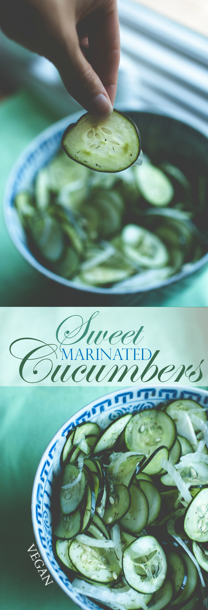 Produce On Parade - Sweet Marinated Cucumbers - This dish is a perfect marriage of sour and sugary with notes from the delicate, herbed cucumber slices and sweet onion. A terrific way to use up all those beautiful cucumbers from the garden!