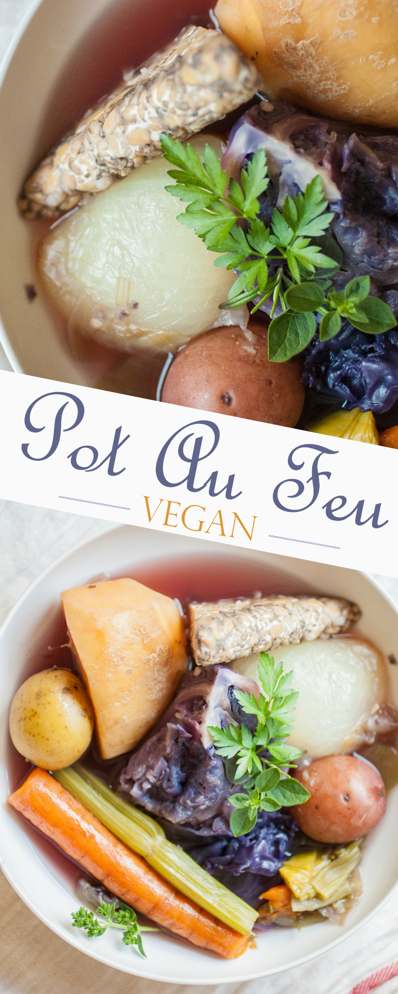 Produce On Parade - Pot Au Feu - This is a vegan spin on a simple vegetable dish from France, using tempeh instead of animal meat.