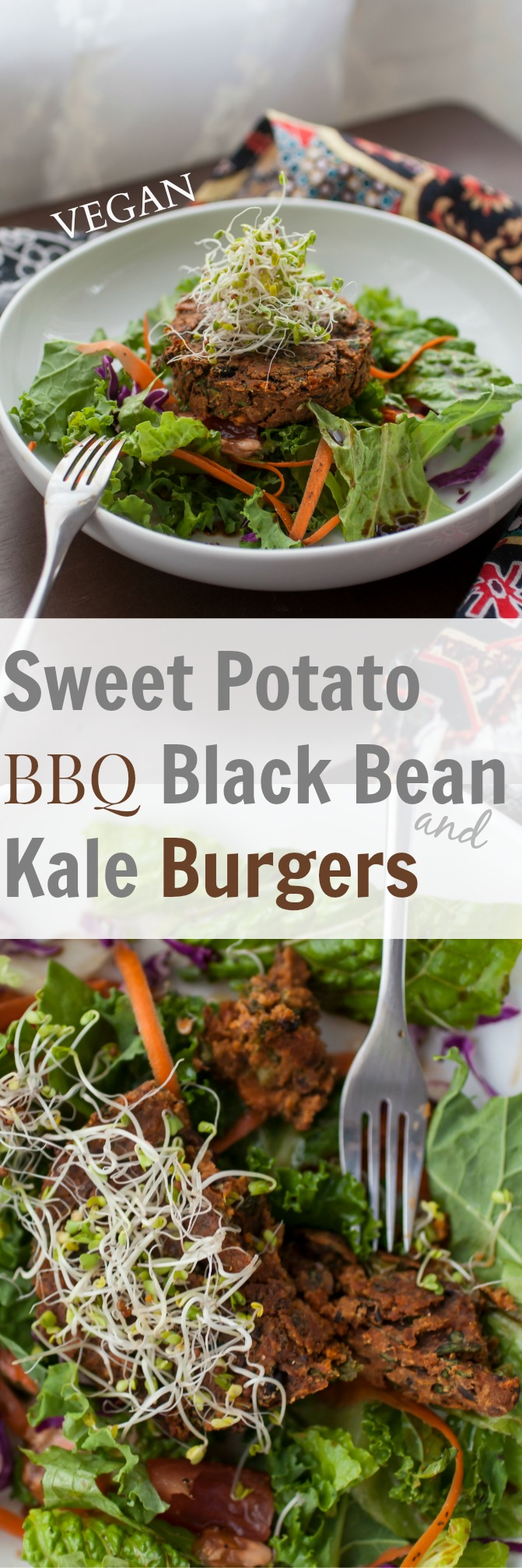 Produce On Parade - Sweet Potato, BBQ Black Bean & Kale Burgers - These roasted vegan burgers are a snap to whip together and bake up quick in the oven for very tasty and healthy burgers that you can freeze for quick eats later.