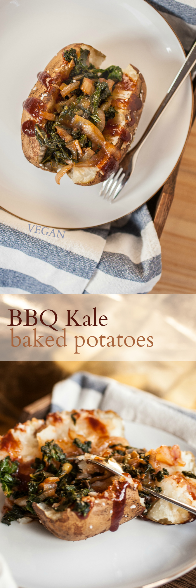 Produce On Parade - BBQ Kale Baked Potatoes - Sometimes you just need a baked potato! Who would have thought that kale dripping in BBQ sauce and sweet caramelized onions would make such a scrumptious combination? This is a easy and uncomplicated meal that just takes a bit of time for the potatoes. It's a perfect introduction to a more summery mood.