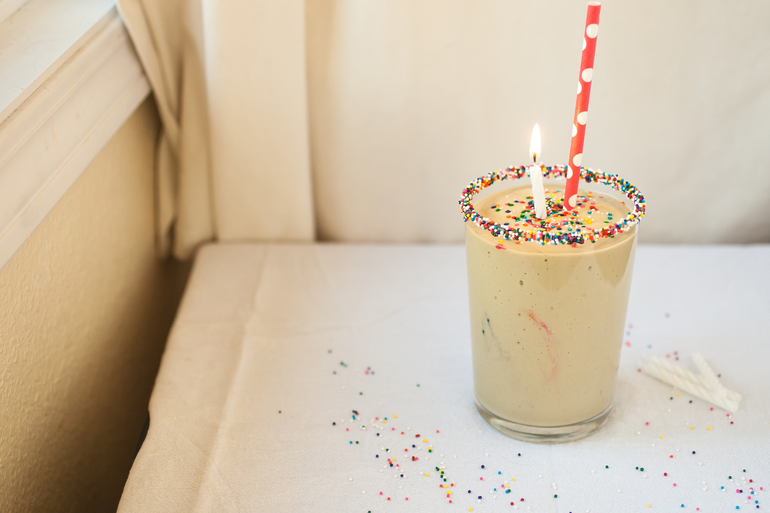 Produce On Parade - Cake Batter Smoothie - This healthy Birthday Cake Smoothie is a great drink to treat yourself to anytime. Full of good fats and protein packed, skip the dessert and go for this cake-mimicking smoothie instead!