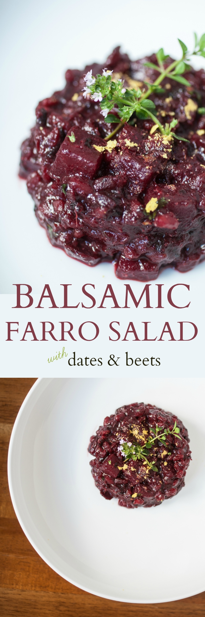 Produce On Parade - The Broad Fork Cookbook review and a recipe for Balsamic Farro Salad w/ Dates & Beets - Sweet and savory with salty notes from the miso, this tangy-balsamic farro salad is studded with tender beets, mashed Medjool dates, and fresh herbs. It's a unique and stunningly delicious flavor profile. A perfect side dish and the tastiest way to use up all those beets! Heavily adapted from The Broad Fork cookbook.