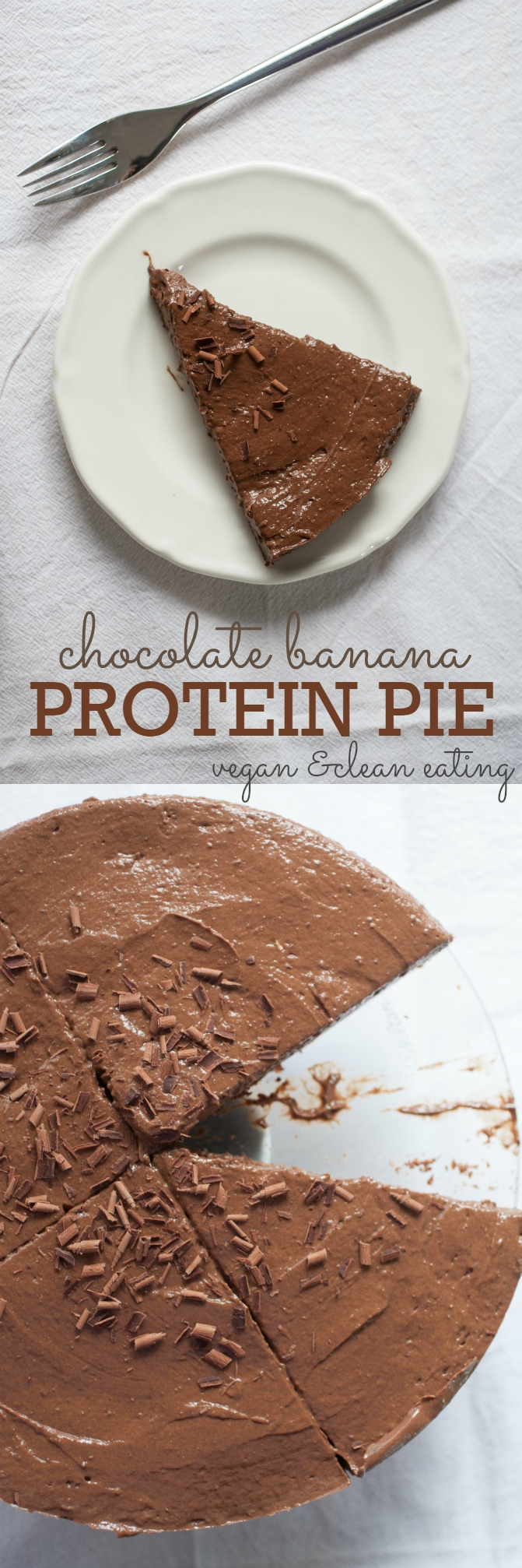 Produce On Parade - Chocolate Banana Protein Pie - This is a fantastic clean-eating dessert as well as the perfect post-workout snack! At just over 200 calories and 16 grams of protein per slice (with 3 scoops of powder), this vegan pie is a breeze to make and will definitely satisfy those chocolate cravings in a healthy and nutritious fashion. Keep slices in the freezer for whenever you need a boost! Sweetened only with dates and bananas, there's no flour or oil in this pie either!